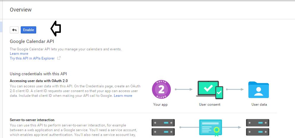Enable Calendar API